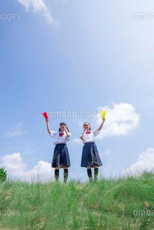 メガホンを掲げる中学生の写真素材 [FYI01761134]