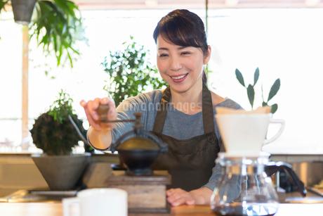 コーヒー豆を挽く女性の写真素材 [FYI01761575]