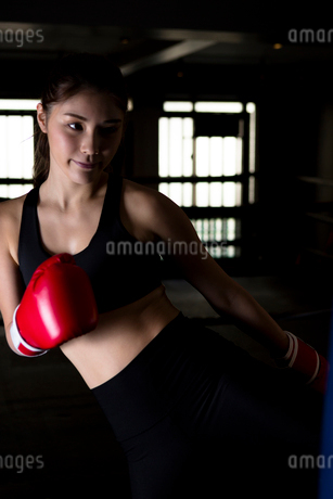 ジムでトレーニングをする女性の写真素材 [FYI01761637]