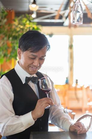 赤ワインの香りを嗅ぐ男性店員の写真素材 [FYI01761843]