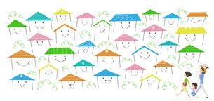 たくさんの住宅が立ち並ぶ町を訪れる家族のイラスト素材 [FYI01762016]
