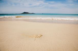 カイルアビーチに付いた足跡の写真素材 [FYI01762033]
