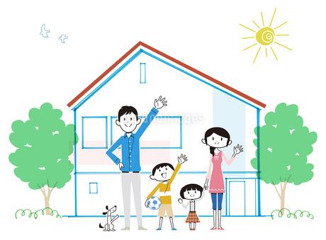 住宅の前で手を振る家族と犬のイラスト素材 [FYI01762137]