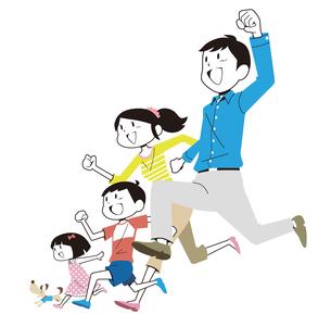 走り出す家族と犬のイラスト素材 [FYI01762138]