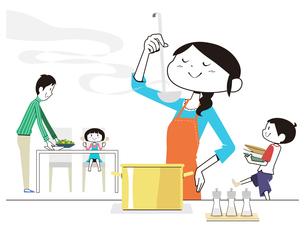 料理の味見をする母と食事の準備をする父と子供のイラスト素材 [FYI01762162]