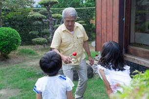孫にけん玉を披露する祖父の写真素材 [FYI01762235]