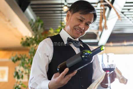 赤ワインを注ぐ男性店員の写真素材 [FYI01763039]