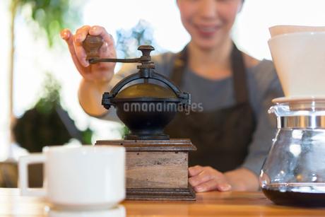 コーヒー豆を挽く女性の写真素材 [FYI01764449]