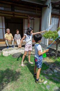虫取りをする姉弟と祖父母の写真素材 [FYI01764658]