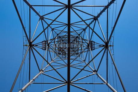 青空と左右対称の送電線の写真素材 [FYI01766074]