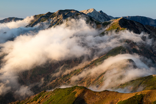 雲湧く後立山連峰(五竜岳より唐松岳、白馬岳を望む)の写真素材 [FYI01766932]