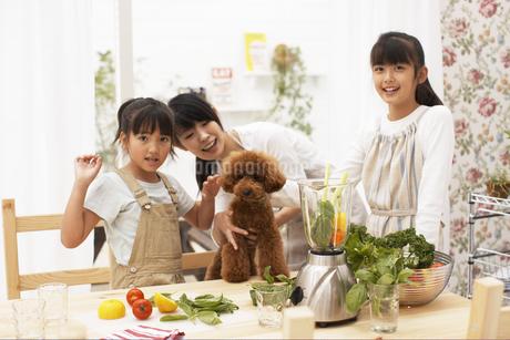 キッチンにいる母親と娘と犬の写真素材 [FYI01767230]
