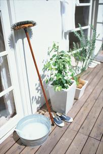 ウッドデッキのブラシや植物,スニーカーの写真素材 [FYI01768448]