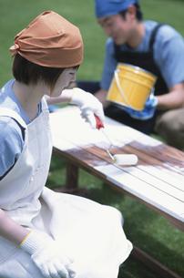白いペンキを塗る女性の写真素材 [FYI01768853]