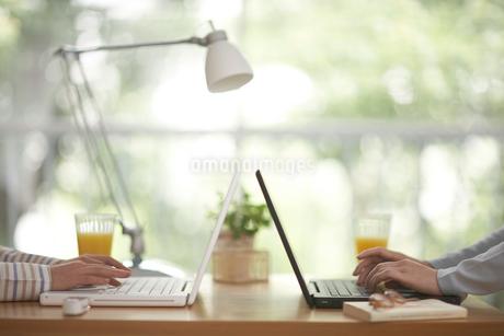 向かい合ってパソコンをする人 飲み物の写真素材 [FYI01770472]