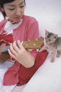 ソファで楽器を弾く女性と猫(アビシニアン)の写真素材 [FYI01771975]