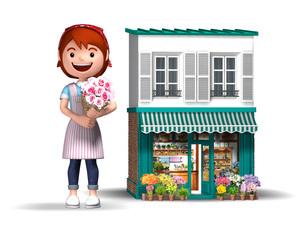 花屋さんと店舗のイラスト素材 [FYI01772599]
