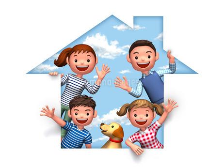 家のシルエットと家族と犬のイラスト素材 [FYI01772607]