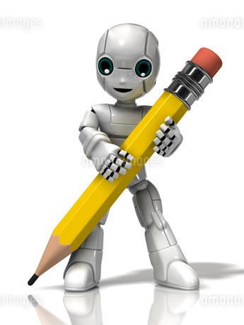 鉛筆を持つロボットの少年のイラスト素材 [FYI01772692]
