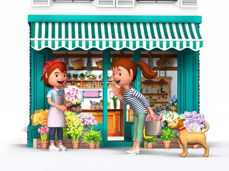 花屋で買い物をする母と愛犬のイラスト素材 [FYI01772693]