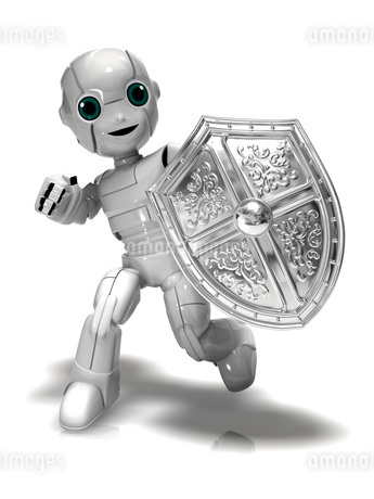 盾を持つ少年ロボットのイラスト素材 [FYI01772695]