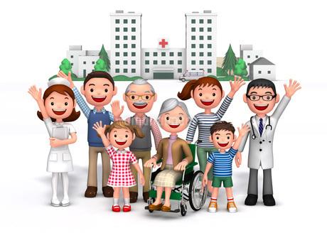 三世代家族と病院介護のイラスト素材 [FYI01772698]