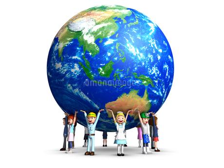 地球を支える人たちのイラスト素材 [FYI01772700]