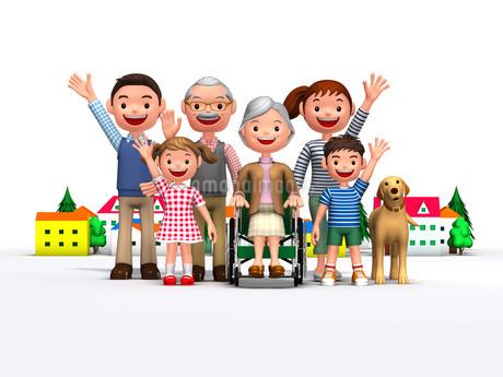 三世代家族と犬と介護のイラスト素材 [FYI01772703]