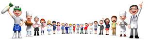 並んだいろいろな職業の人々3のイラスト素材 [FYI01772706]