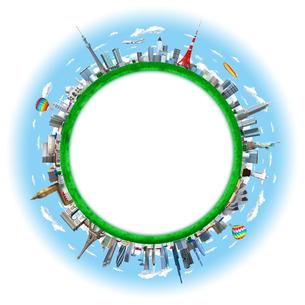 球状の街と世界のランドマークのイラスト素材 [FYI01772707]