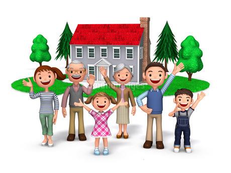 三世代家族と赤い屋根の家のイラスト素材 [FYI01772715]
