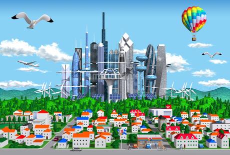 街と未来都市のイラスト素材 [FYI01772717]