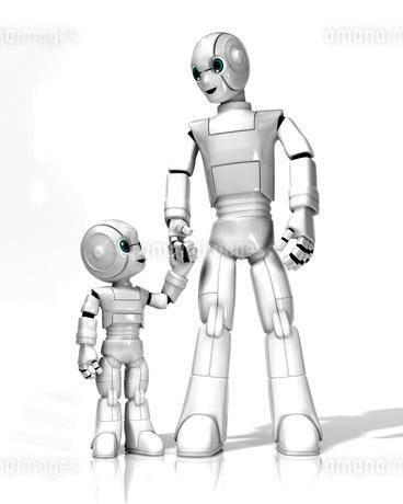 手をつなぐロボットの親子のイラスト素材 [FYI01772721]