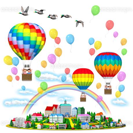 気球に乗る家族と丘の街,虹と風船,カモのイラスト素材 [FYI01772722]