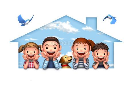 頬杖をつく家族と犬と青い鳥のイラスト素材 [FYI01772724]