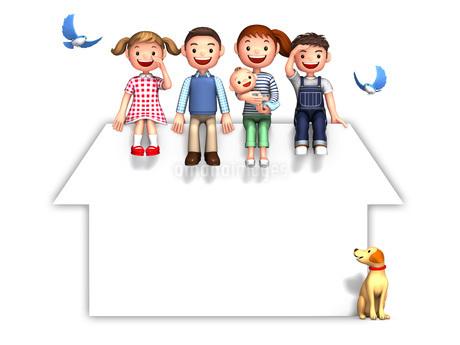 家のシルエットの屋根上の家族と犬と青い鳥のイラスト素材 [FYI01772725]