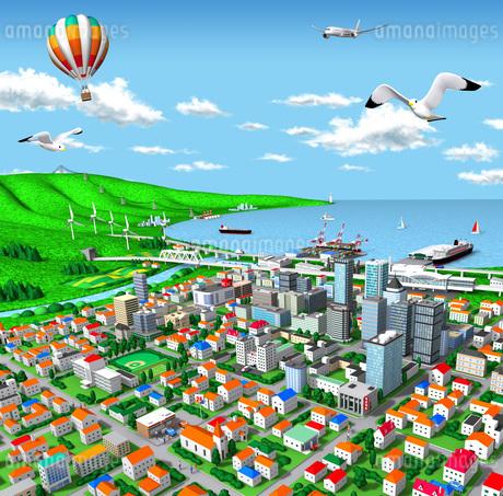 海辺の街とエネルギーと交通のイラスト素材 [FYI01772726]