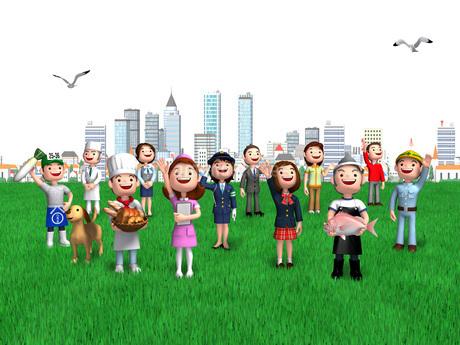 街の広場で空を見上げるいろいろな仕事の人々のイラスト素材 [FYI01772727]