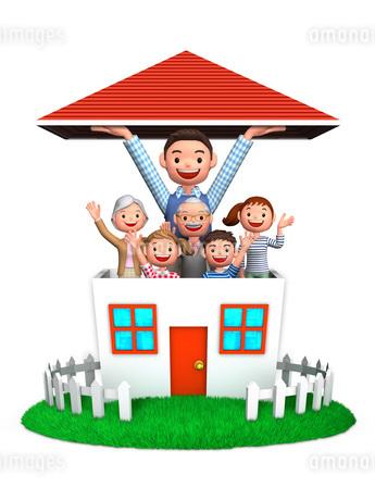赤い屋根を持ち上げる父と家族のイラスト素材 [FYI01772729]