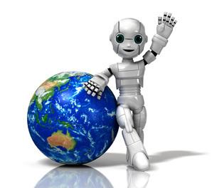 地球と少年ロボットのイラスト素材 [FYI01772731]