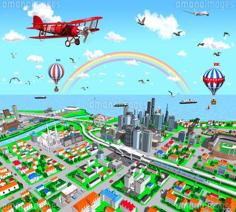 赤い複葉機と虹の街鳥瞰のイラスト素材 [FYI01772732]