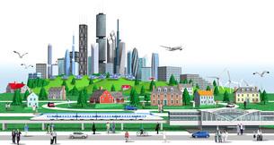 街と高層ビルと列車のイラスト素材 [FYI01772734]