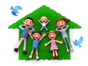家のシルエット型の芝生の上でくつろぐ家族と青い鳥のイラスト素材 [FYI01772735]