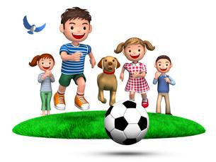 ボールを追いかける子供たちと犬、見守る両親のイラスト素材 [FYI01772736]