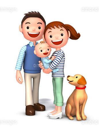 夫婦と赤ちゃんと飼犬のイラスト素材 [FYI01772737]