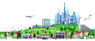 未来ビルと集合住宅と街のイラスト素材 [FYI01772740]