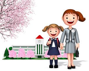 桜の校舎をバックに一年生の女の子と母のイラスト素材 [FYI01772742]