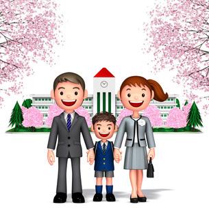 桜の校舎をバックに一年生男児と両親のイラスト素材 [FYI01772745]