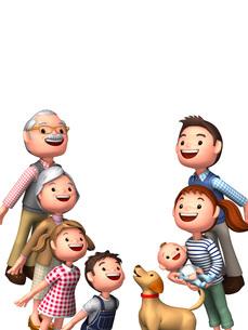 空を見上げる三世代家族と犬のイラスト素材 [FYI01772751]