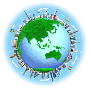 芝生の地球と街と世界のランドマークのイラスト素材 [FYI01772752]